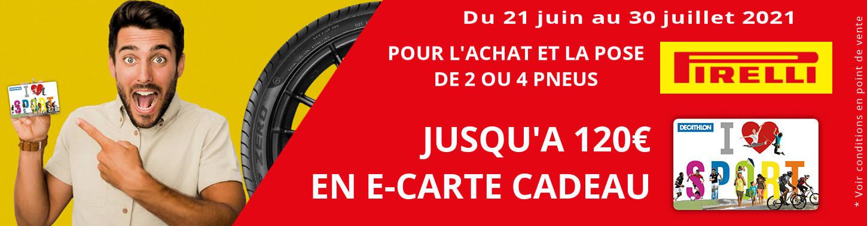 Jusqu'à 120€ offerts sur les pneus PIRELLI !