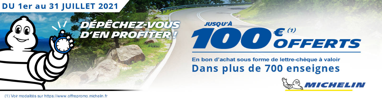 Jusqu'à 100€ offerts pour l'achat de pneus MICHELIN !